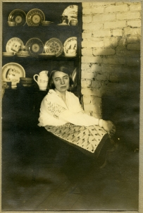 Grace Lumpkin in front of the fireplace at Kok-I House, a rear courtyard building in the East Village, where she lived with her friend Esther Shemitz and later with husband Michael Intrator, late 1920s through the 1930s. Courtesy of the South Caroliniana Library, University of South Carolina, Columbia, South Carolina.