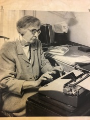 Katharine Du Pre Lumpkin at work on biography of Angelina Grimké, early 1970s, Charlottesville, VA. Courtesy of the Southern Historical Collection, University of North Carolina at Chapel Hill.