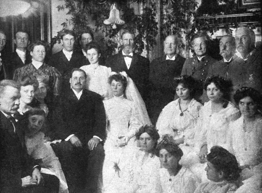 """Elizabeth and Eugene Glenn's """"Confederate Wedding,"""" Confederate Veteran, 1906. Elizabeth and Eugene Glenn are in the center. Annette Lumpkin is on Eugene's left; William Lumpkin is standing behind Elizabeth. Katharine is in the left bottom corner, leaning in, with Grace to Elizabeth's right. Courtesy of the David M. Rubenstein Rare Book and Manuscript Library, Duke University."""