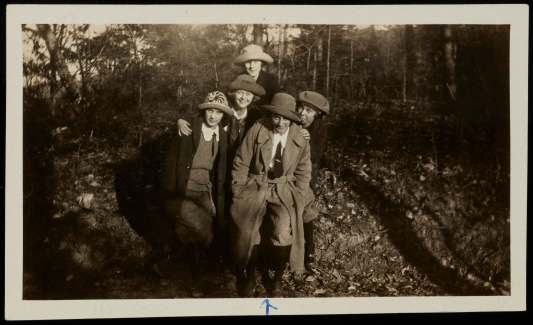 Katharine Lumpkin, front, with unidentified YWCA friends at the Blue Ridge Assembly in the mountains of North Carolina, c. spring 1924. Courtesy of the Southern Historical Collection, Wilson Library, University of North Carolina at Chapel Hill.