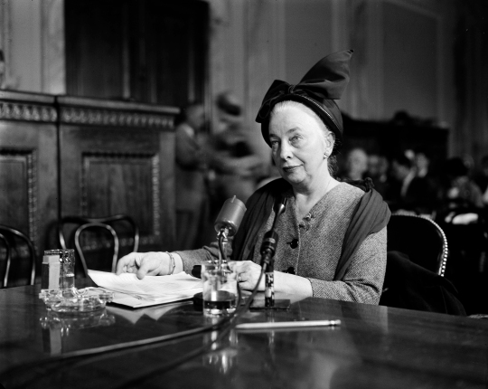 Grace Lumpkin testifying before the Permanent Investigating Subcommittee of the Government Operations Committee chaired by Joseph P. McCarthy on April 2, 1953. Courtesy of the Associated Press.